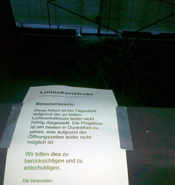 """Besucherhinweis zum """"Linienkonstrukt"""""""