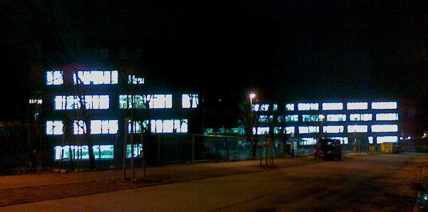 beleuchtete Baustelle