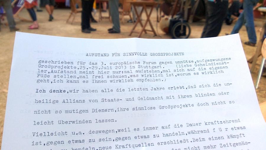 Schreibmaschinen getipptes Flugblatt