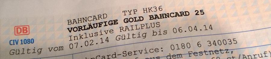 (vorläufige) BahnCard Gold 1. Klasse