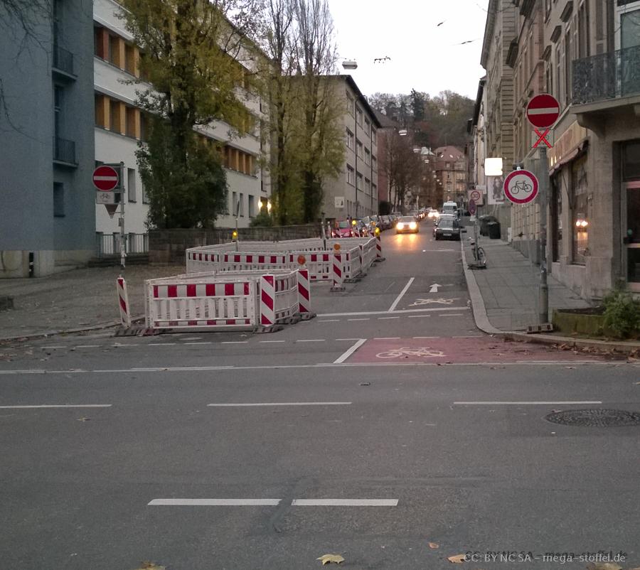 Baustelle, nur für Radfahrer