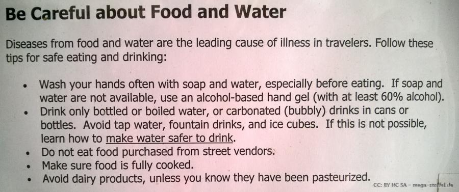 kein Streetfood essen!