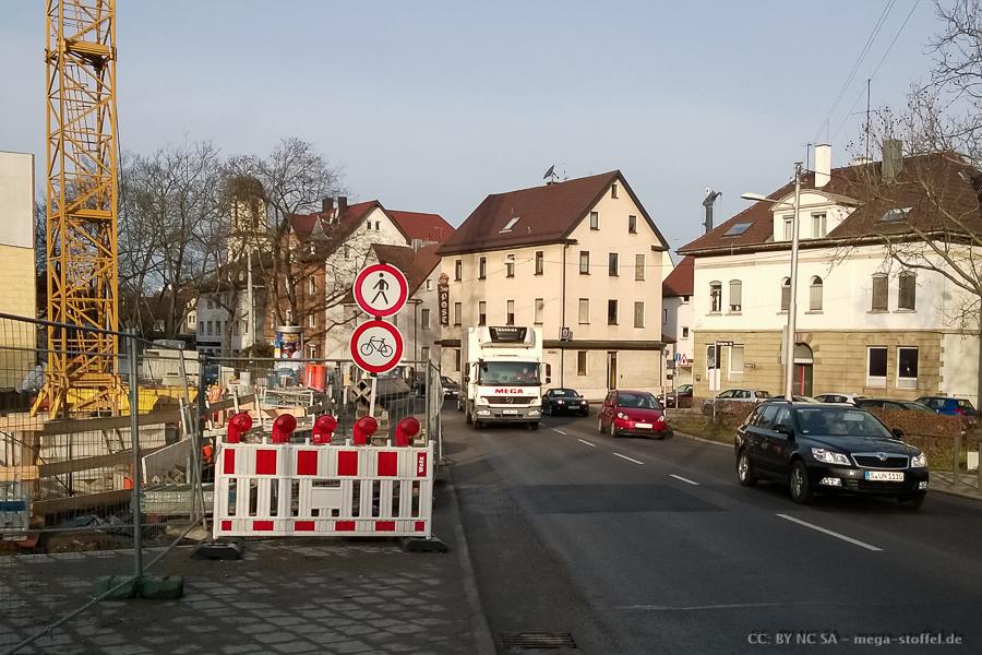 Baustelle in Feuerbach, Radverkehr behindert