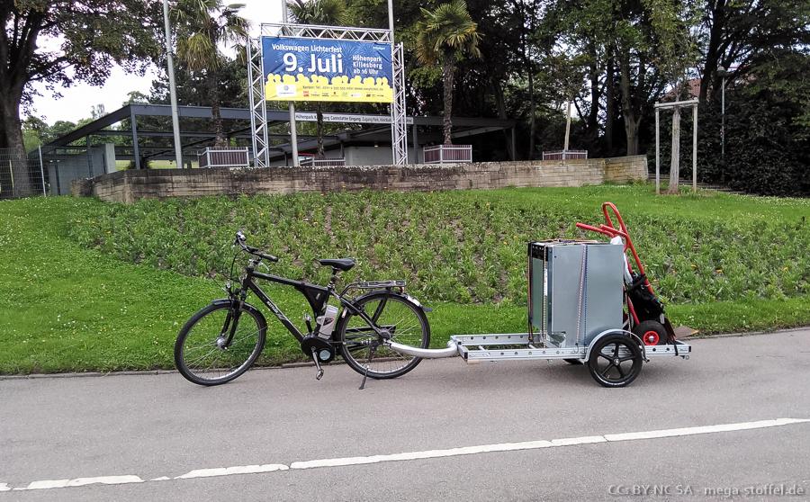 Spülmaschinentransport per Fahrrad