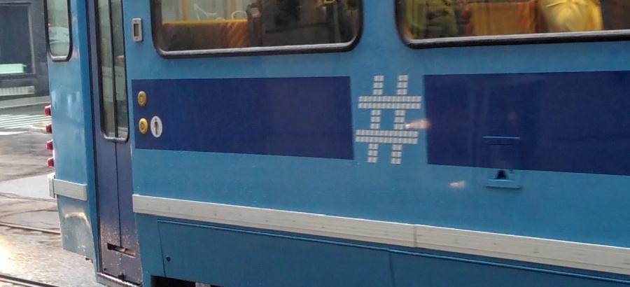 Hashtag auf den Trams