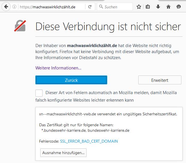 falsches Zertifikat auf der Bundeswehr-Homepage